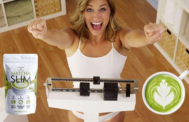 matcha slim femme sur une échelle de perte de poids
